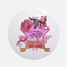 CowGirl Wild Thing edit name text Pink Hat Ornamen