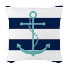 Teal Anchor on Blue Stripes Woven Throw Pillow