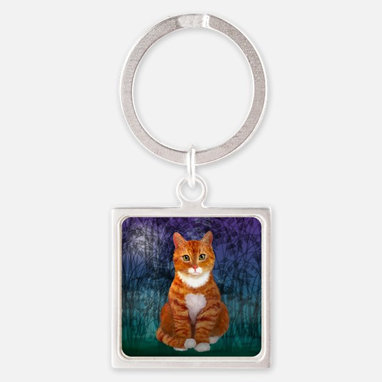 Orange Tabby Cat Square Keychain