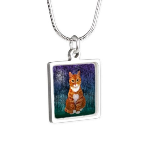 Orange Tabby Cat Silver Square Necklace