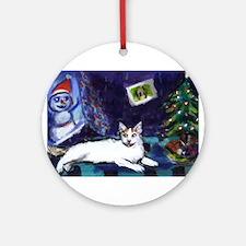 Turkish Van cat snowman Ornament (Round)