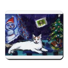 Turkish Van cat snowman Mousepad