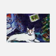 Turkish Van cat snowman Rectangle Magnet