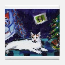 Turkish Van cat snowman Tile Coaster