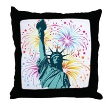 Lady Liberty Fireworks Throw Pillow