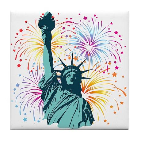 Lady Liberty Fireworks Tile Coaster