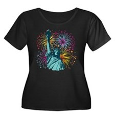 Lady Liberty Fireworks Plus Size T-Shirt