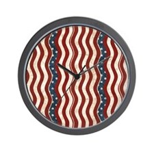 Wavy Patriotic Stripes Pattern Wall Clock