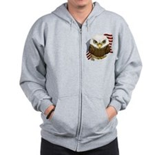 Cute Bald Eagle Zip Hoodie