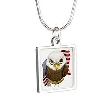 Cute Bald Eagle Silver Square Necklace