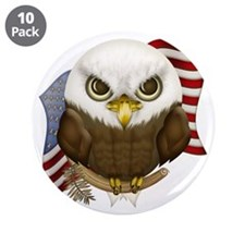 "Cute Bald Eagle 3.5"" Button (10 pack)"