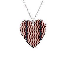 Wavy Patriotic Stripes Pattern Necklace