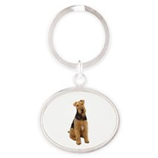 Airedale #1 - sit Oval Keychain