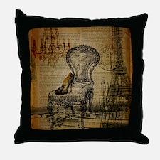 Vintage Paris Scripts Throw Pillow