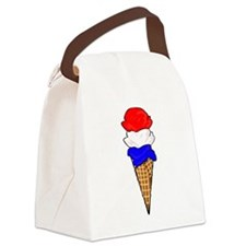 Red White and Blue Ice Cream Canvas Lunch Bag