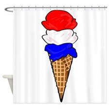 Red White and Blue Ice Cream Shower Curtain