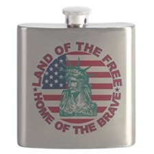 Land of the Free Home Of The Brave Flask