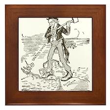 1895NicaraguaCanalCartoon.png Framed Tile