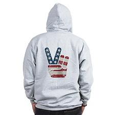 Peace Sign USA Vintage Zip Hoody