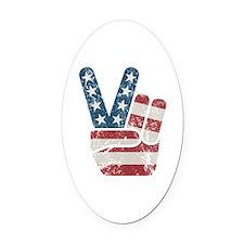 Peace Sign USA Vintage Oval Car Magnet