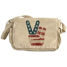 Peace Sign USA Vintage Messenger Bag