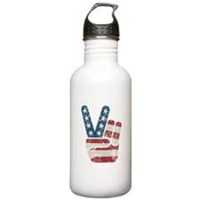 Peace Sign USA Vintage Water Bottle