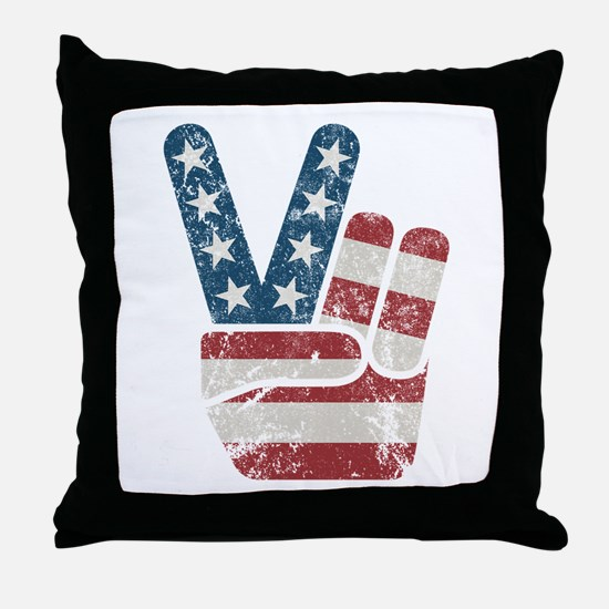 Peace Sign USA Vintage Throw Pillow