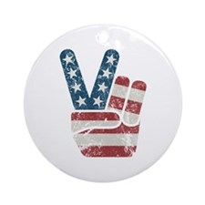 Peace Sign USA Vintage Ornament (Round)
