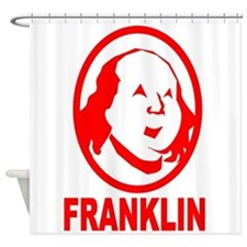 Red Benjamin Franklin Portrait Shower Curtain