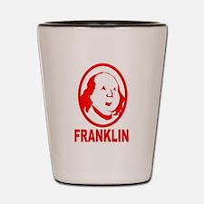 Red Benjamin Franklin Portrait Shot Glass