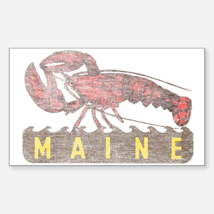 Vintage Maine Lobster Sticker (Rectangle)