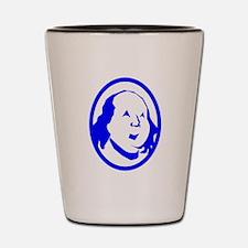 Blue Benjamin Franklin Portrait Shot Glass