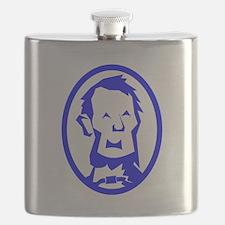 Blue Abraham Lincoln Portrait Flask