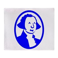 Blue George Washington Portrait Throw Blanket