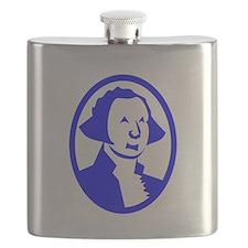 Blue George Washington Portrait Flask