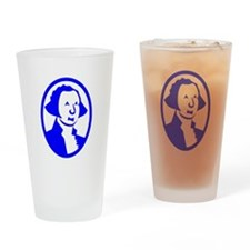 Blue George Washington Portrait Drinking Glass