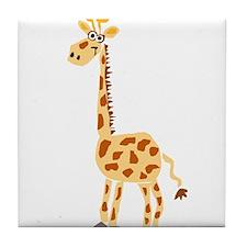 Funny Primitive Art Giraffe Tile Coaster