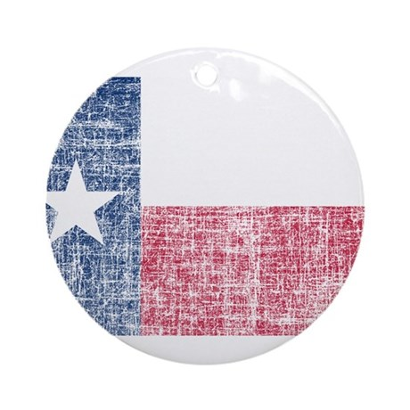 Distressed Texas Flag Ornament (Round)
