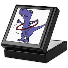 Funny T-rex Dinosaur Playing Hula Hoop Keepsake Bo