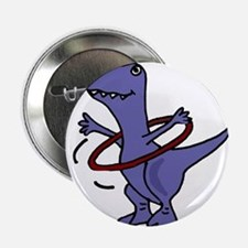 """Funny T-rex Dinosaur Playing Hula Hoop 2.25"""" Butto"""