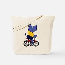 Blue Rhino Riding Bicycle Cartoon Tote Bag