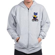 Blue Rhino Riding Bicycle Cartoon Zip Hoodie