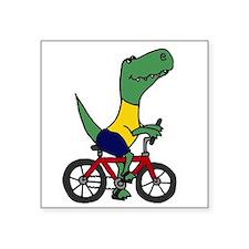 T-rex Dinosaur Riding Bicycle Cartoon Sticker