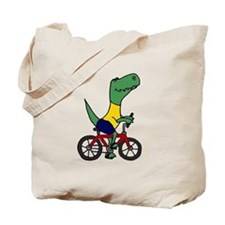 T-rex Dinosaur Riding Bicycle Cartoon Tote Bag