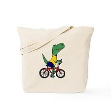 T-rex Dinosaur Riding Bicycle Cartoon Tote Bag