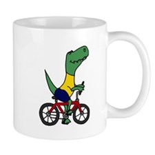T-rex Dinosaur Riding Bicycle Cartoon Mug
