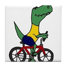 T-rex Dinosaur Riding Bicycle Cartoon Tile Coaster