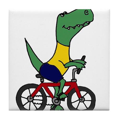 T-rex Dinosaur Riding Bicycle Cartoon Tile Coaster