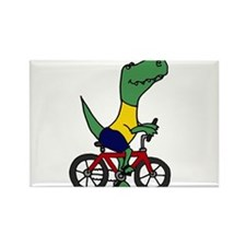 T-rex Dinosaur Riding Bicycle Cartoon Rectangle Ma