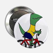 "T-rex Dinosaur Riding Bicycle Cartoon 2.25"" Button"